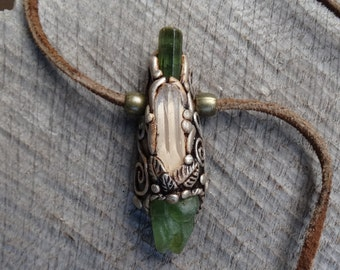 SHIPPING INCLUDED Danbutite Green Tourmaline and Green Peridot Pendant