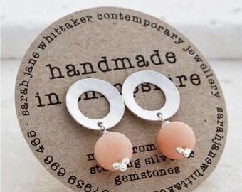 Silver Blush Earrings - Silver Drop Studs - Frosted Silver Gemstone Earrings - Bridal Pearl Earrings - Peach Studs - Blush - Apricot Studs