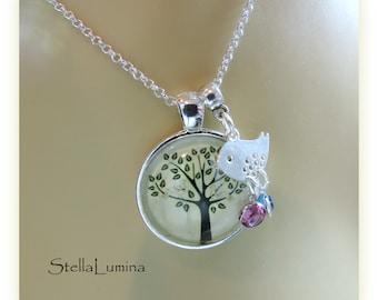 Chickadee Tree-of-Life Silver Necklace with Swarovski Birthstone Charms