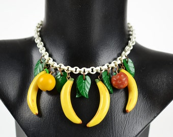 1940s Vintage Necklace Early Plastic with Fruit
