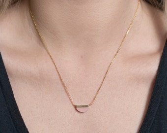 Pink Stone Gold Necklace, Half Moon Gold Necklace, Pendant Necklace, Dainty Gold Pendant Necklace, Gold Jewelry, Minimal Necklace, N348