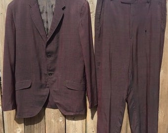 Vintage 50S Mens Suit Purple Rockabilly Mod Rotchshilds 2 Button Gangster 60s pimp dandy