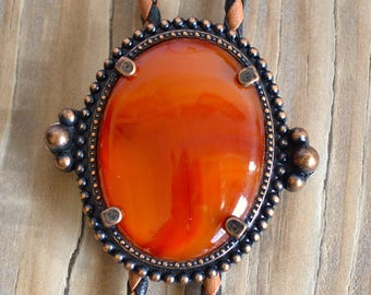 Red Agate Western Bolo Tie Necklace