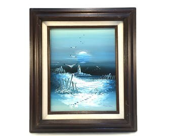 Vintage Original Seaside Painting - Blue Night Ocean Artwork - Nautical Beach Decor - Lighthouse Seagulls Moon - Maritime Beach Lake House