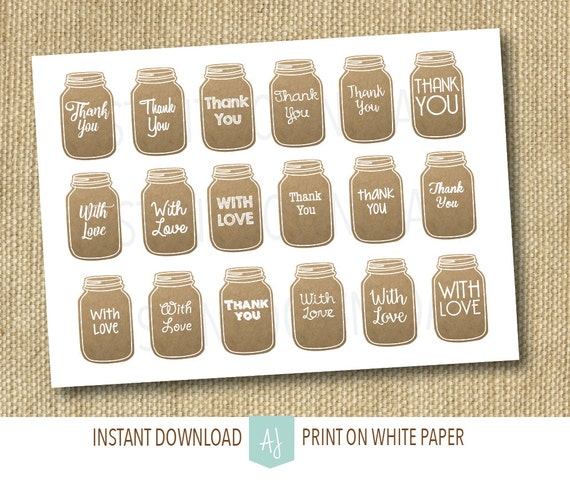 Wedding Favor or Gift Tags- Mason Jar Graphics, Printable Rustic Tags ...