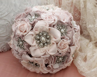 Fabric bridal bouquet vintage style pale pink, duchess satin hand made