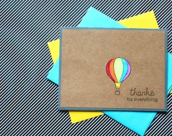 Hot Air Balloon Card, Thank You Cards, Hot Air Balloon Thank You, Hot Air Balloons, Thank You Set, Handmade, Baby Shower Thank You