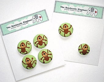 Buttons, Covered Buttons, 29mm Buttons, Fabric Buttons, Clothes Buttons, Fastenings, Shank Buttons, Monkey Buttons, Green Buttons, Size 22mm