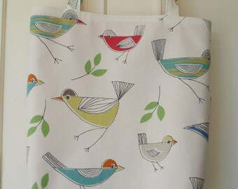 Shopping bag - stick birds print, orange lining