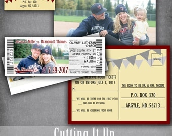 baseball wedding ticket invitation sports wedding invitation set baseball wedding invitations with rsvp - Baseball Wedding Invitations