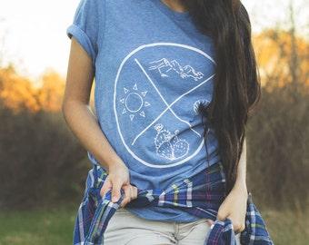Bohemian Four Corners Tee - 4 colors - Boho Unisex Travel Directions T-Shirt - Berry   Blue   Gray   Green