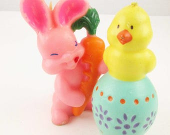 Vintage Easter Candles - Bright Pink Bunny and Yellow Chick - Chick on Easter Egg - Easter Chick - Yellow Chick - Bunny and Carrot - Easter