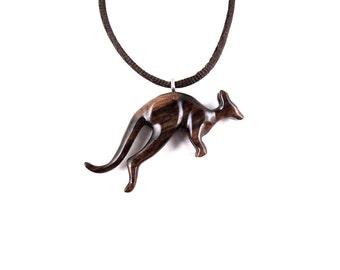 Kangaroo Necklace, Kangaroo Pendant, Kangaroo Jewelry, Wood Kangaroo Necklace, Wood Animal Pendant, Kangaroo Totem, Mens Tribal Jewelry