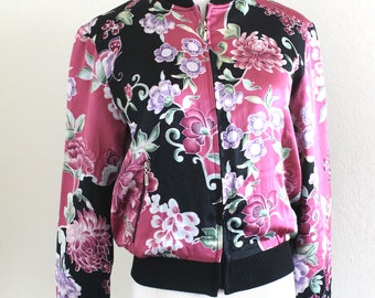 1990's Silk Bomber Asian Inspired Pink and Black Floral Jacket Small