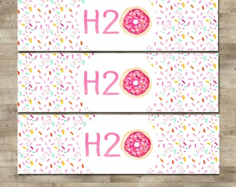 Donut Water Bottle Labels, Doughnut Water Bottle Wrappers, Donut Birthday Party, Donut H20 labels, water bottle label, T19