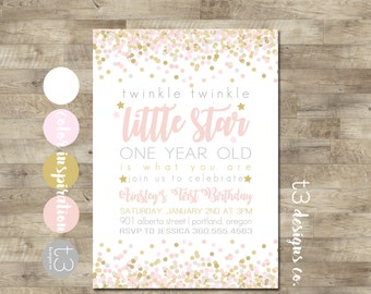 Twinkle Twinkle Little Star First Birthday Invitation, girl first birthday invitation, Pink Gold Invitation, Little Star Birthday Invite, T9