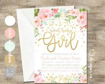 pink and gold baby shower | etsy, Baby shower invitations