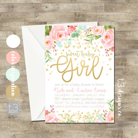 Gold Confetti Baby Shower Invitation Girl Baby Shower