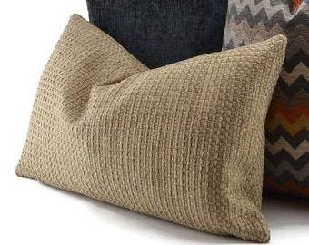 Tan Chenille & Woven Basket Weave Lumbar Throw Pillow Cover, 12x20, Neutral Textured Pillow Cover