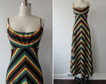 1970s dress | vintage 70s dress | vintage 1970s chevron dress | maxi dress | vintage 1970s chevron maxi dress | A Day at Coney Island Dress