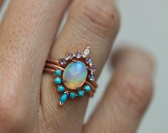 Ocean Engagement Ring Set, Solitaire Fire Opal with Moonstone Ring and Curved Turquoise band, Unique Wedding Ring Set, Three Ring Set