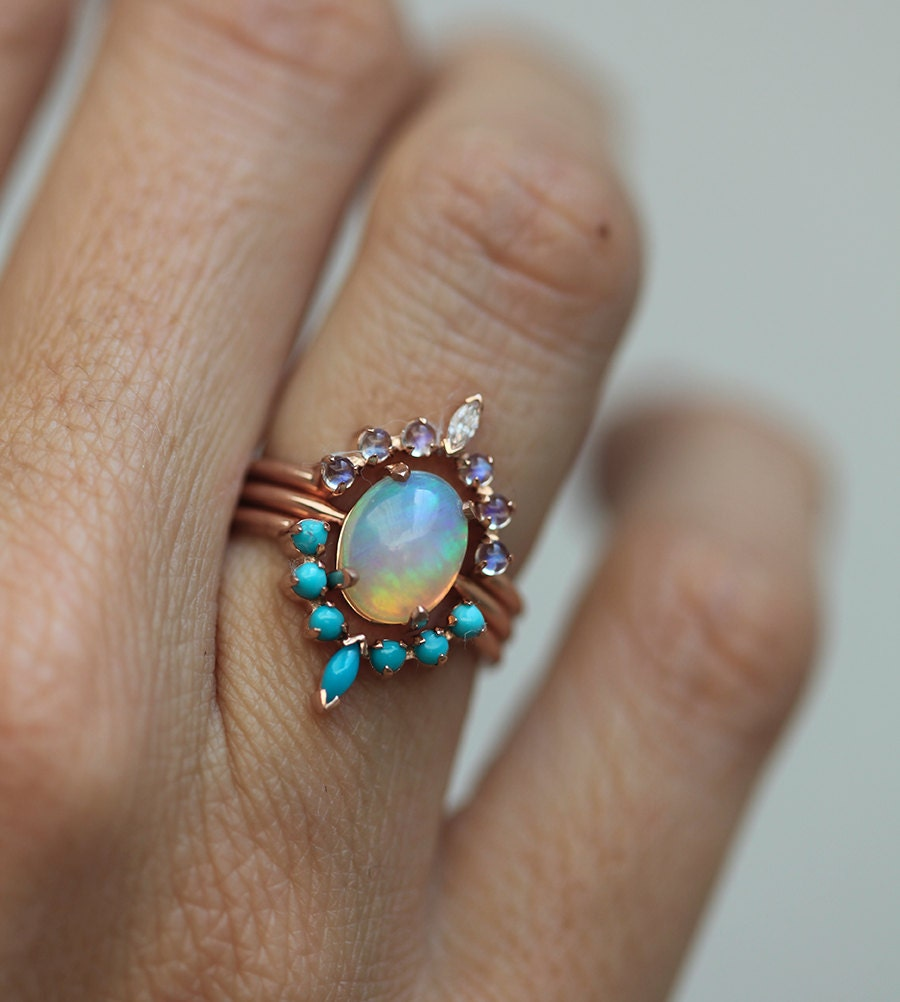 ocean engagement ring set solitaire fire opal with moonstone. Black Bedroom Furniture Sets. Home Design Ideas