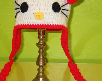 Hello Kitty -Inspired Character Crochet Hat