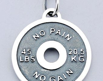 Barbell 925 silver pendant bodybuilding gym sport disc muscle weights no pain no gain