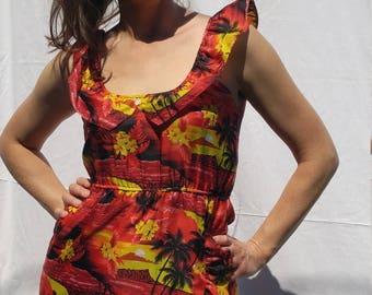 Short Hawaiian Dress with Ruffle details