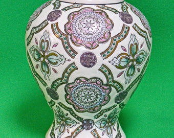 """Vintage 6"""" Colorful Ceramic Vase With Geometric Shapes And Ribbon Designs"""