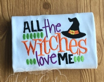 Boys Custom Halloween Shirt, All the Witched love me, Sizes from 0-3mo to size 8, Baby Toddler Kids, Trick or Treat Outfit, Orange Green