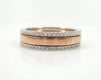 Set of 3: Diamond Eternity and Solid Rose gold Stacking Bands - Wedding Bands