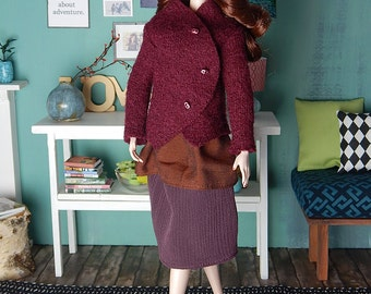 """SALE! Walkloden wine red jacket for Fashion Royalty, FR2, Poppy Parker, NuFace and other 12"""" fashion dolls"""