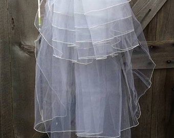 Vintage large satin bow,six layers tulle Wedding or first communion veil