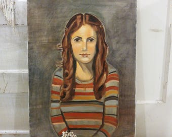 vintage girl WOMAN lady oil painting *~ Good condition!