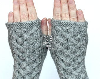 Hand Knitted Fingerless Gloves, Gray, Gloves & Mittens, READY TO SHIP