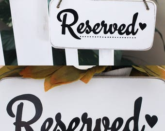 Hanging Reserved Sign - Ceremony Sign, Wedding Sign, Chair Signs, Reserved Table Sign, Reserved Chair Sign, Reserved Seating For Family