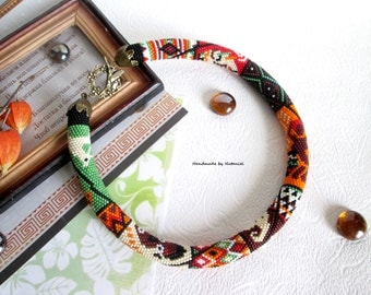 Bead Crochet necklace The coast of Africa ethno Africa colorful summer orange brown light green white black choker for her made to order