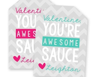 Applesauce Valentine Cards Printable - Awesome Sauce Valentines for Kids - Preschool Valentines - Kids Valentines