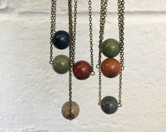 Large Round Colorful Pendant Beaded Necklace