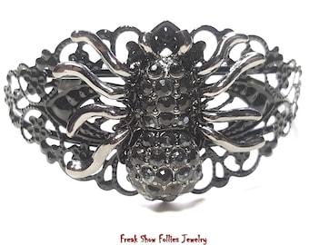 black spider filigree cuff bracelet