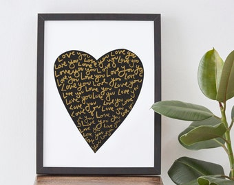 "8X10"" Love Heart Print - romantic love print - heart poster - romantic gift"