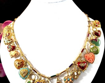 SALE --- COMPLETE COLLECTION - Joan Rivers Hearts & Flowers Charm Necklace with All 19 Charms - S1038