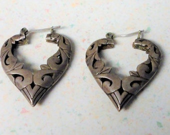Sterling Marked Heart Hoops Post Mid Century 7.6 Grams Vintage Sterling