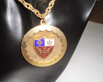 Gold Tone Vintage Pendant Two Lions Face Inware Crown Cross Fleur De Lis Heraldic Shield Large Round Pendant Necklace Collectible