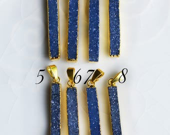 Blue Druzy Pendant, Long Thin Bar Pendant, Electroplated with 24K Gold, A