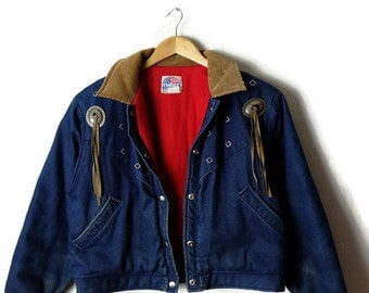 Damaged Vintage Denim x Corduroy Trim Fringed Denim Jacket from 1980's*