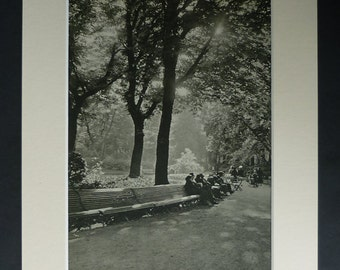 1940s Antique Jardin du Luxembourg Garden Print, Paris Park decor, Photography Gift, Available Framed French Art France Picture Marcel Bovis