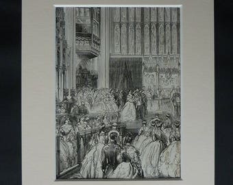 1860s Antique Royal Wedding Print, Available Framed, Marriage Art, King Edward VII Decor, Alexandra of Denmark Picture, Old Bridal Wall Art