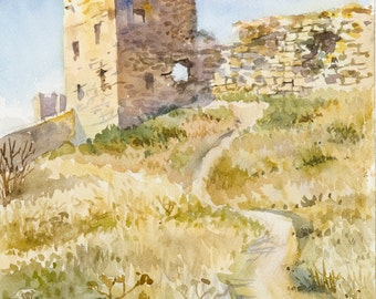 Old Town Wall in Crimea - Watercolor Painting